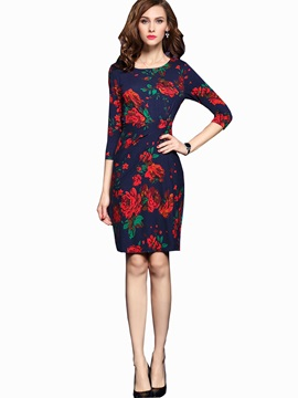 Floral Print 3/4 Sleeve Fashion Work Dress