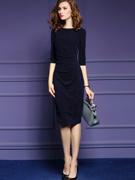 Solid Half Sleeve Lurex Work Dress