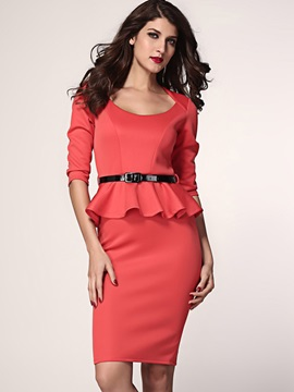 Solid 3/4 Sleeve Falbala Belt Work Dress