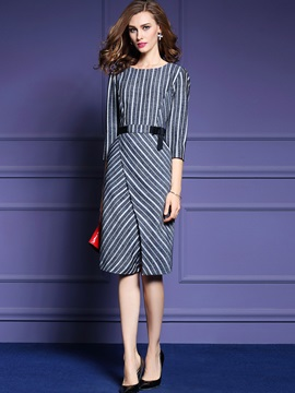 Stripe Round Neck Split Bodycon Dress