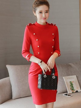 Solid Stand Collar Button Bodycon Dress
