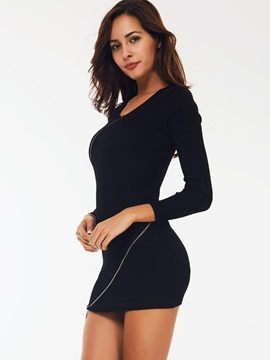 Solid Nine Points Sleeve Zipper Bodycon Dress