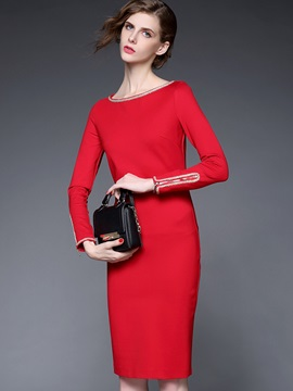 Red Color Long Sleeve With Round Collar Bodycon Dress