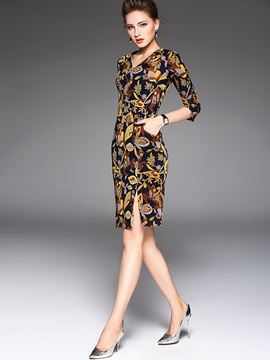 Flower Print V-Collar With Half Sleeve Bodycon Dress