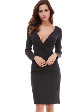 Solid V-Neck Long Sleeves Work Dress