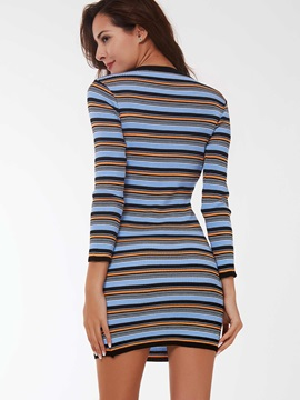 Vertical Striped Pullover Nine Points Sleeve Bodycon Dress