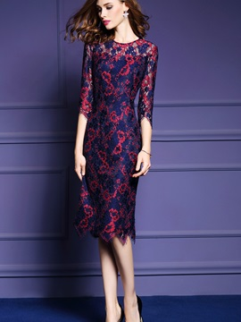 Floral Print 3/4 Sleeve Lace Patchwork Bodycon Dress