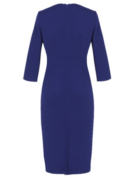 Solid Square Neck Zipper Work Dress