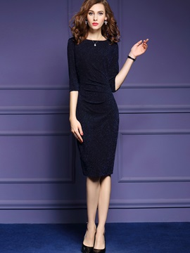 Plain 3/4 Sleeve Pleated Bodycon Dress