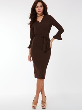 Solid V-Neck Flare Sleeve Bodycon Dress