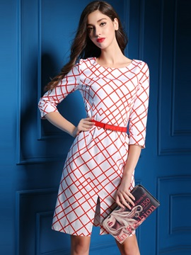Plaid 3/4 Sleeve Belt Work Dress