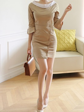 Flare Sleeve Button Lace-Up Bodycon Dress