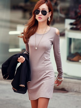 Plain Round Neck Rivet Bodycon Dress