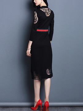 V-Neck Mesh Embroidery 3/4 Sleeve Bodycon Dress