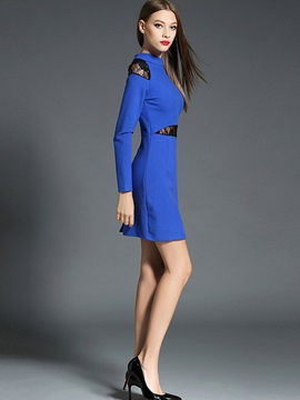 Stand Collar Embroidery Patchwork Bodycon Dress