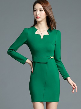 Solid Puff Sleeve Zipper Work Dress