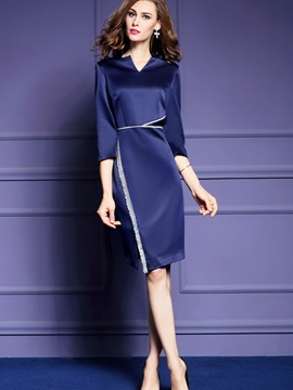 V-Neck 3/4 Sleeve Asymmetric Work Dress