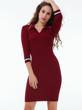 Lapel 3/4 Sleeve Patchwork Sweater Dress