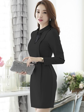 Lapel Zipper Empire Waist Work Dress
