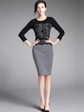 Houndstooth 3/4 Sleeve Lace Patchwork Work Dress