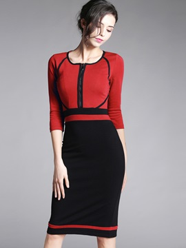 Color Block 3/4 Sleeve Empire Waist Work Dress