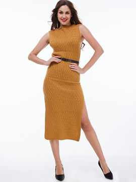 Solid Color Sleeveless Belt Bodycon Dress