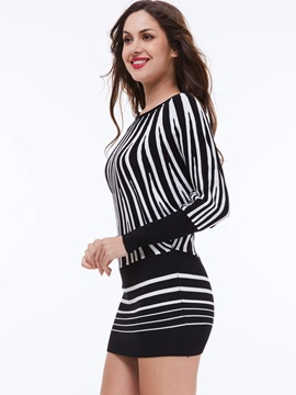 Vertical Striped Pullover Batwing Sleeve Bodycon Dress