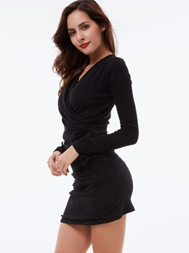 Solid V-Neck Pleated Bodycon Dress
