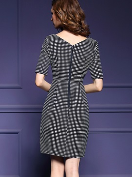 Polka Dots Half Sleeve Zipper Bodycon Dress