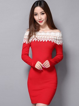 Pullover Hollow Patchwork Bodycon Dress