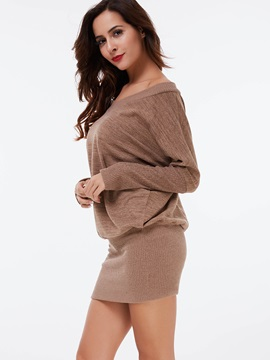 Plain V-Neck Pullover Bodycon Dress