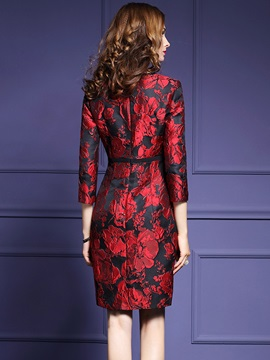Print Three-Quarter Sleeve Patchwork Work Dress