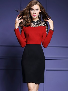 Pullover See-Through Color Block Work Dress