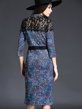 Print Stand Collar Single-Breasted Work Dress