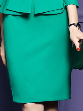 Solid Color Falbala Double-Layer Work Dress