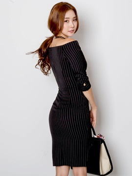 Slash Neck Three-Quarter Sleeve Button Bodycon Dress