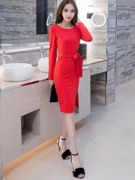 Solid Color Bowknot Split Bodycon Dress