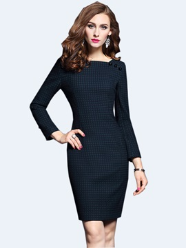 Plaid Button Square Neck Bodycon Dress