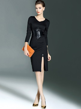 Nine Points Sleeve Patchwork Asymmetric Bodycon Dress