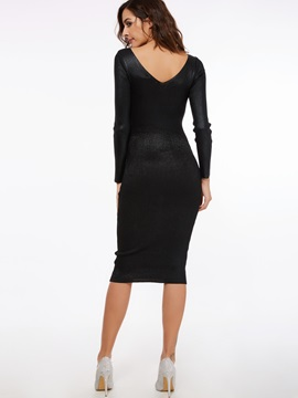 Solid Color V-Neck Pullover Bodycon Dress