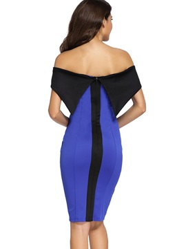 Slash Neck Color Block Backless Bodycon Dress
