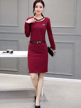 Solid Hollow Pocket Bodycon Dress
