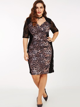 Leopard V-Neck Patchwork Bodycon Dress
