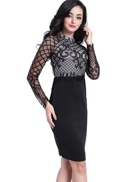 Stand Collar Mesh See-Through Bodycon Dress