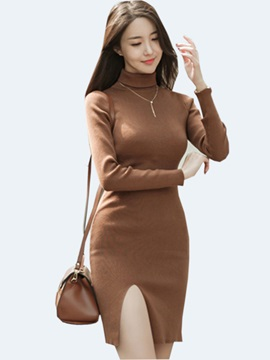 Solid Color Turtleneck Split Bodycon Dress