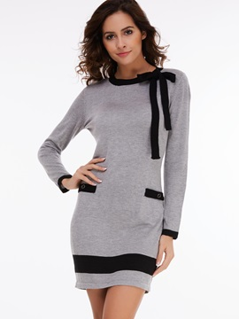 Color Block Bowknot Pocket Sweater Dress