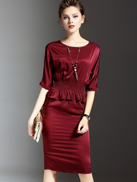 Batwing Sleeve Pleated Falbala Bodycon Dress