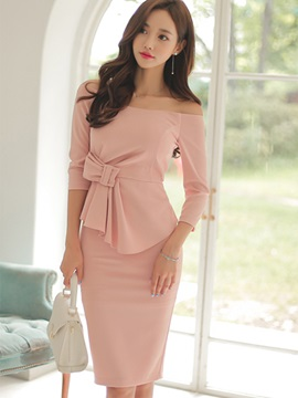 Solid Color Off-the-Shoulder Bowknot Bodycon Dress
