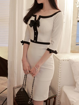 Bowknot Patchwork Slash Neck Bodycon Dress
