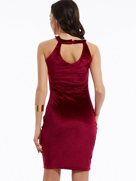Plain Beading Decorative Backless Sheath Dress